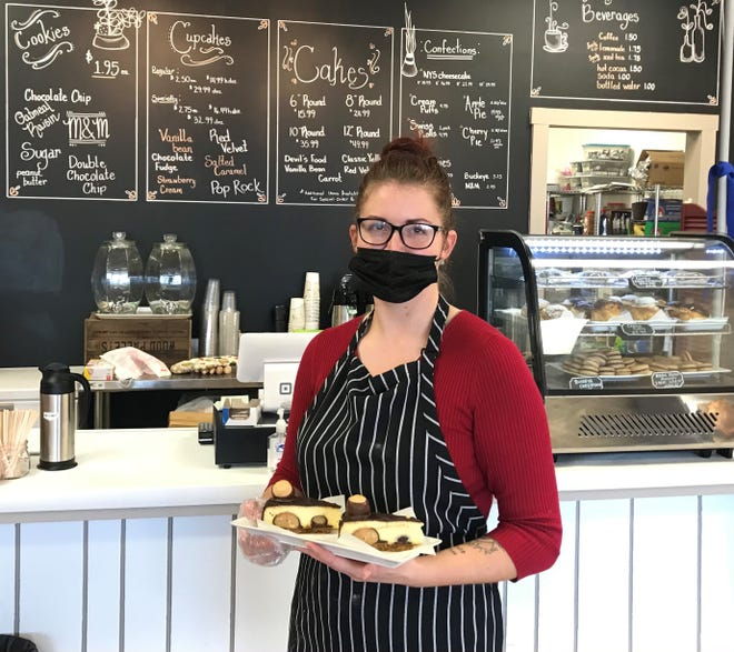 Alexandra Lusher, owner of newly-opened  AlliAnn's Bakery, in the Colonial Shopping Center on Mount Vernon Road.