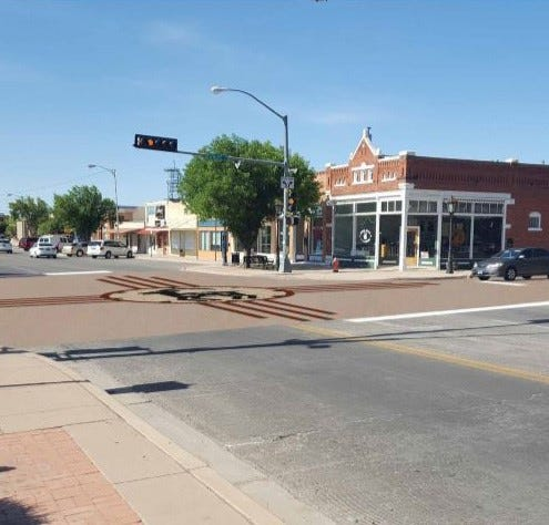 Deming Luna County MainStreet will begin work on the Zia Sun Art-Scape Intersection Project at the intersection of Gold and Spruce streets in Deming, NM.