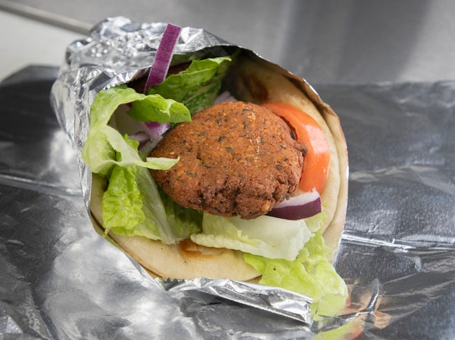 A falafel pita is ready to eat Jan. 27 at Greek's Catering and Events food truck on Spanish Trail in Pensacola.