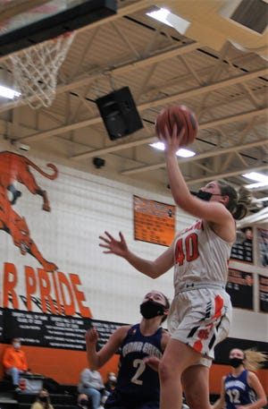Palmyra's Katelyn Becker goes up for two of her 18 points in Wednesday night's win over Cedar Crest.