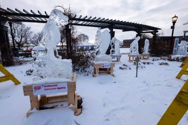 Ice sculptures from St. Clair's Ice Bazaar remain in Riverview Plaza Thursday, Jan. 28, 2021. The St. Clair Chamber of Commerce is working with local health officials to accomodate future events after crowds at last week's event appeared to violate COVID regulations.