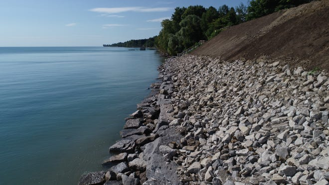 A rock wall is being constructed along M-25 in Sanilac County to help protect against erosion.