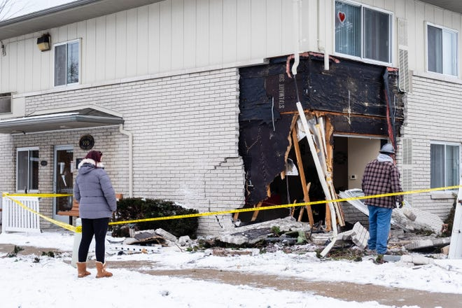 A vehicle crashed into an apartment building in the 900 block of 8th Street in Port Huron Thursday afternoon, Jan. 28, 2021.