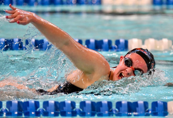 Central York's Emma McCombs wins the women's 200-yard freestyle event at 2:05.83 during swimming action against Spring Grove at Spring Grove Area High School in Jackson Township, Thursday, Jan. 28, 2021. Dawn J. Sagert photo