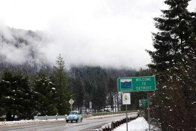 The Welcome to Detroit sing greets people along Highway 22 in Detroit, Ore. on Wednesday, Jan. 27, 2021. Gates and Detroit are in dire financial straights after being ravaged by wildfires.