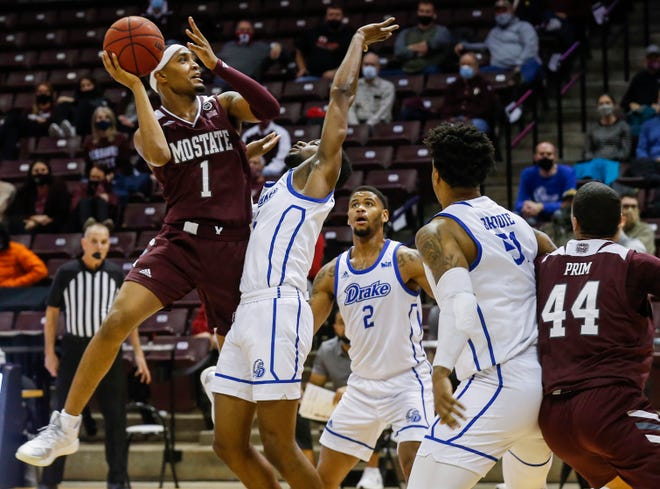 Isiaih Mosley, of Missouri State, puts up a shot during the Bears game against Drake at JQH Arena on Wednesday, Jan. 27, 2021.
