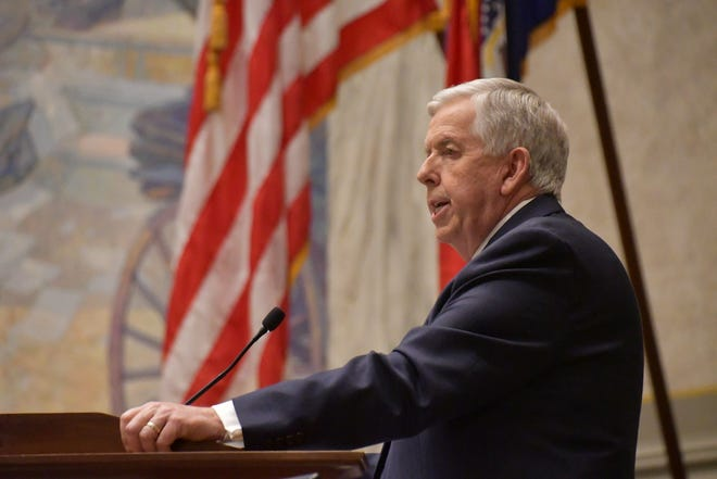 Missouri Gov. Mike Parson delivers his third annual State of the State address in the Missouri Senate chamber on Wednesday, January 28, 2021.