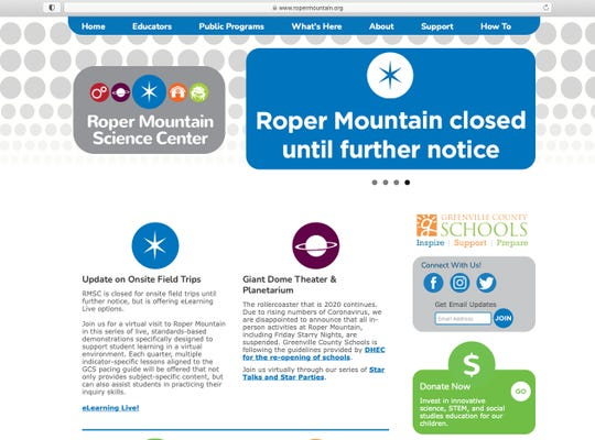 A screen shot of the Roper Mountain Science Center Website
