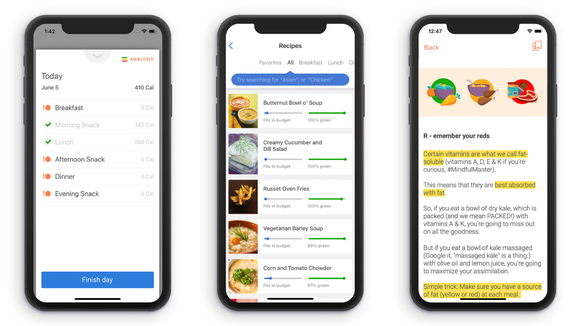 "In addition to the daily food logging, the Noom app provides motivation with about eight daily ""tasks"" you're asked to complete."