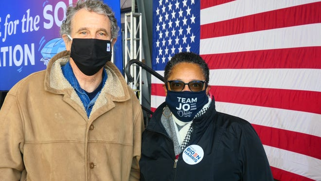 Sen. Sherrod Brown and Rep. Marcia Fudge, both Democrats from Ohio, attended a Biden/Harris rally in the state in 2020.