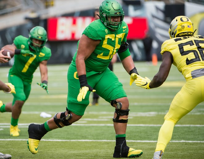 Will Oregon offensive tackle Penei Sewell (58) be the first non-quarterback to go in the 2021 NFL draft?
