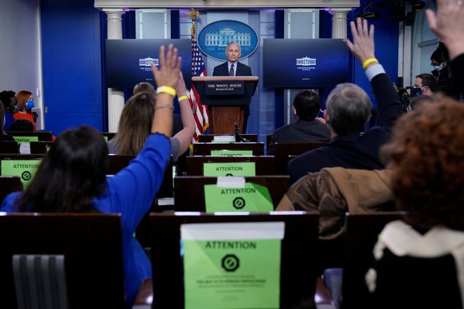 Dr. Anthony Fauci, director of the National Institute of Allergy and Infectious Diseases, takes questions as he speaks with reporters in the James Brady Press Briefing Room at the White House, Thursday, Jan. 21, 2021, in Washington. (AP Photo/Alex Brandon) ORG XMIT: DCAB447