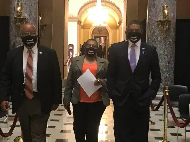 Democratic Reps. Bennie Thompson of Mississippi, Marcia Fudge of Ohio and Cedric Richmond of Louisiana attend a July 27, 2020, memorial service for Rep. John Lewis of Georgia in the U.S. Capitol. (Photo by Deborah Barfield Berry)