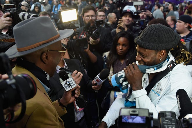 With the traditional Super Bowl media day shelved because of COVID-19, there will be no scenes next week such as this when actor and comedian J.B. Smoove interviewed Jay Ajayi of the Philadelphia Eagles at  Super Bowl 52.