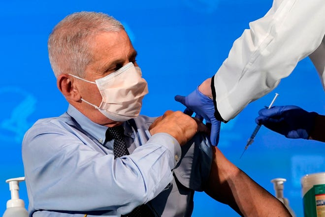 Anthony Fauci, director of the National Institute of Allergy and Infectious Diseases, prepares to receive his first dose of the COVID-19 vaccine at the National Institutes of Health on Dec. 22, 2020, in Bethesda, Md.