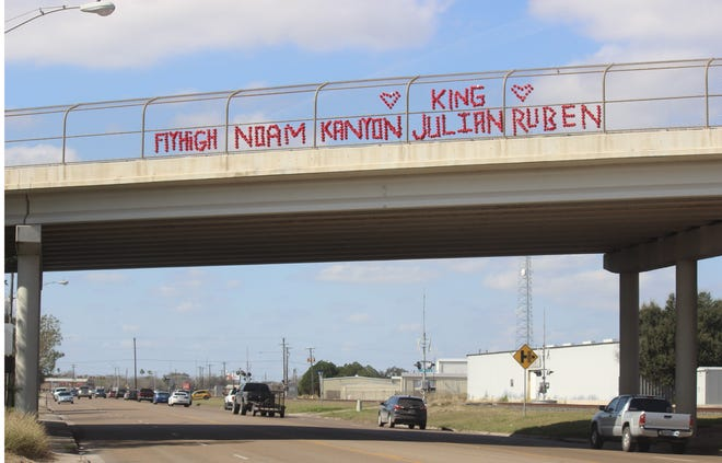 The overpass on Texas Highway 44 and 281 in Alice have the names of the four local young men that passed away in a fatal car accident In neighboring city Mathis on Saturday,  Jan. 23. 2021.