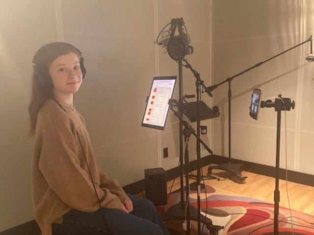 """Taylor Paige Henderson recording in the booth for her role in Studio Ghibli's """"Earwig and the Witch,"""" which premieres in theaters and on HBO Max in early February."""