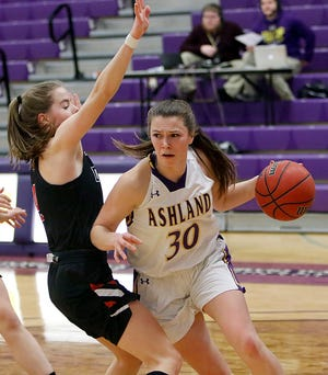 Ashland's Kayla Sanders (30) drives to the basket during AU's win over Davenport on Friday. AU downed the Panthers again on Saturday.