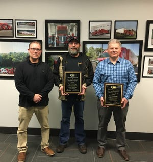 Pictured from left are: Wayne Heller, operations manager, Cowen Truck Line; Ron Hershberger, NASTC Driver of the Year; and Tim Cowen, president, Cowen Truck Line.
