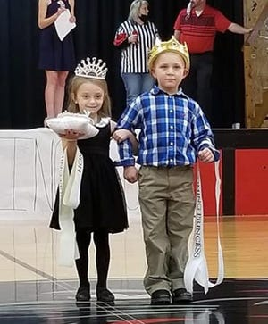 PHHoCo_princess and prince escort: Kindergarten students Nora McDannold and Ethan Alpers served as escorts for the Prince and Princess