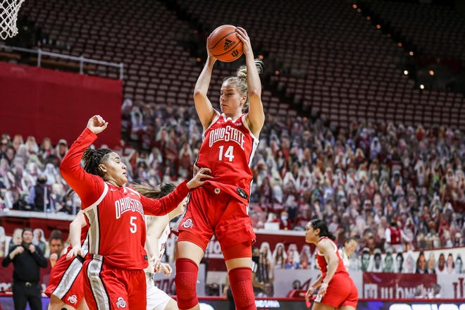 Ohio State forward Dorka Juhasz (14) pulls down a rebound in Thursday's 78-70 victory over Indiana. Juhasz finished with 19 points and 12 rebounds.