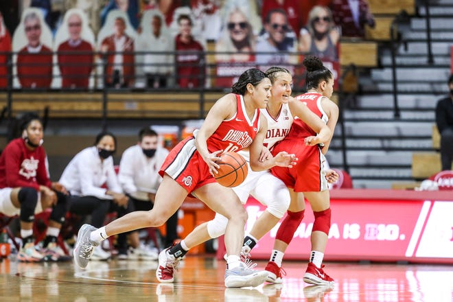 Ohio State guard Braxtin Miller (10) uses a screen from teammate Madison Greene to drive around Indiana guard Ali Patberg in the Buckeyes' win on Thursday.