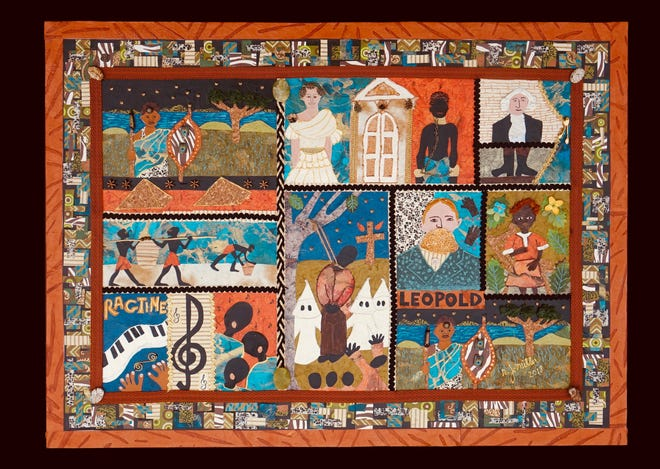 """African American poet Langston Hughes' poem """"Negro"""" inspired this mixed-media collage by Robin Joyce Miller, which is part of the """"Our Stories"""" exhibit at the Falmouth Art Center."""