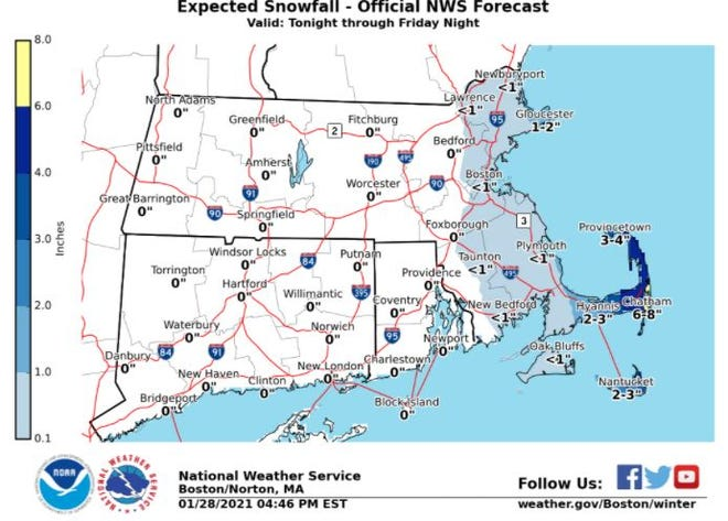 Cape Cod could be seeing up to 8 inches of snow in some areas on Friday