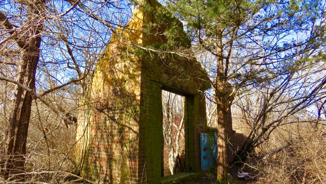 Ruins of the West Barnstable Brick Company sleep in the forest.