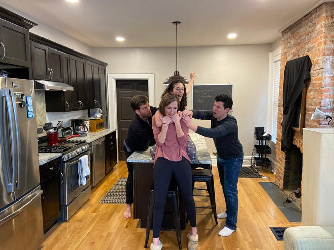 """Clockwise: Jake Loewenthal, Annie Winneg (rear center), Nick Cosgrove and Ali Foley in Short North Stage's streaming production of the play """"Bad Jews."""""""