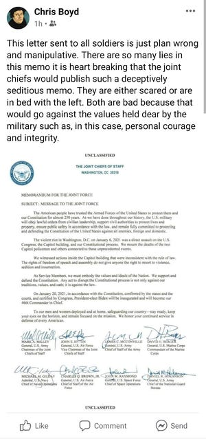 Ohio Army National Guard Chaplain 1st Lt. Christopher M. Boyd's posts on Facebook