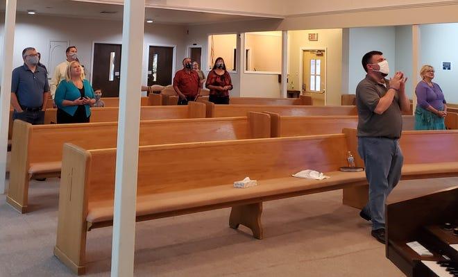 Congregants observe social distancing at a recent service of University Baptist Church in Thibodaux.