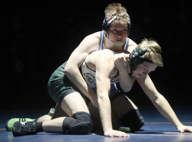 Cameron Weiland in a match against Badger/Greenbush-Middle River on Jan. 28. Weiland and the Crookston wrestling team swept Saturday's triangular against Red Lake County Central and Blackduck/Cass Lake-Bena.