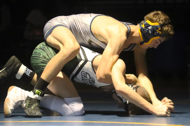 Ethan Bowman picked up two wins by fall Thursday to move to 12-0 on the season. Bowman and the Crookston wrestling team beat Park Rapids but lost to Badger/Greenbush-Middle River in Thursday's triangular at CHS.