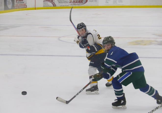 Jenna Seaver scored on this shot with 2:30 remaining in the third period, which proved to be the game-winning goal in Crookston's 3-2 win over West Fargo United Thursday.