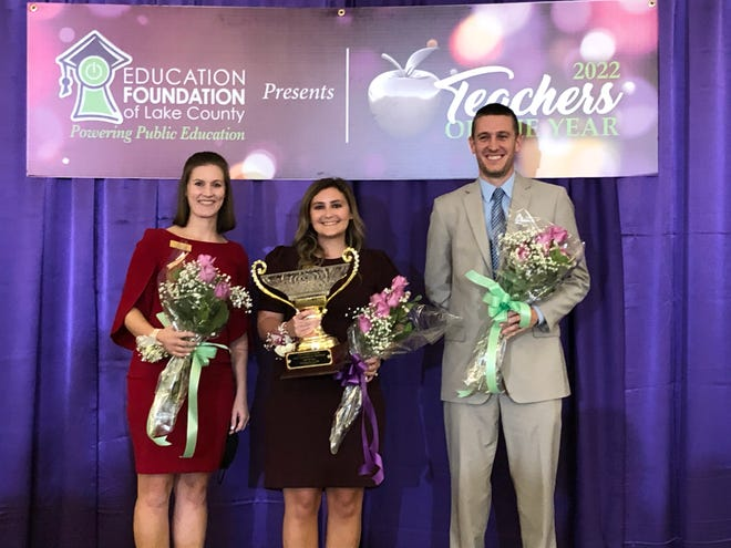 Shannon Clark, middle, of Eustis Heights Elementary is chosen as the 2021-22 Lake County Teacher of the Year on Thursday night, Jan. 28, 2021. She is shown with finalists Rikki Parisoe of Fruitland Park Elementary and Josh Wintersdorf of Umatilla Middle.