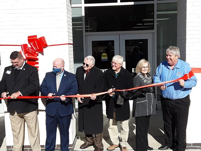 Members of the Davidson County Board of Commissioners cut the ribbon of the Davidson County Courthouse renovation on Friday. Pictured are commissioners James Shores (left), Chris Eliott; Fred McClure; Steve Shell, Karen Watford and Todd Yates.