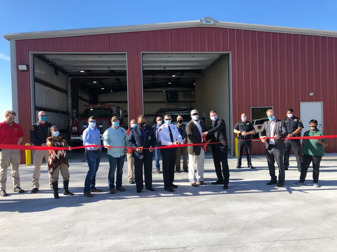 Ascension Parish and Donaldsonville officials cut the ribbon on a new fire station in Modeste.