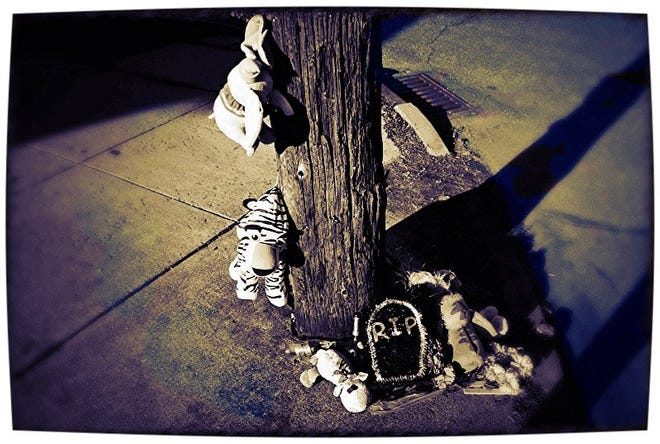 This is an undated contributed photo of memorial left at a shooting scene. The photo, which was processed with digital editing filters, was taken by Alexus Bruce, a 13-year-old seventh grader at Pfeiffer-Burleigh School in Erie. It is part of a collection of photos focusing on the issue of violence in Erie that was in the running for the Audience Choice Award in the #Storymakers2016 online photo competition sponsored by www.TechSoup.org, which provides technology hardware and services to nonprofits. ALEXUS BRUCE, Contributed