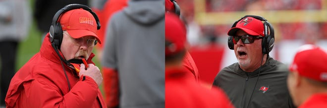 This combination of file photos shows Kansas City Chiefs head coach Andy Reid, left, and Tampa Bay Buccaneers head coach Bruce Arians during NFL football games. There's no retirement age in the NFL, and that's a good thing for Super Bowl-bound Kansas City and Tampa Bay. Andy Reid and Bruce Arians are two of the league's five oldest coaches. Reid is closing in on 63; Arians turned 68 last October. They have a combined 55 years of NFL experience and spent nearly another three decades working at the college level.