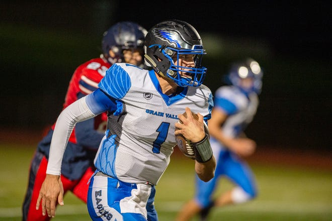 Grain Valley senior quarterback Cole Keller put a knee injury as a junior behind him and amassed more than 2,700 yards and 36 touchdowns for the 10-2 Eagles. He is The Examiner's 2020 Football Offensive Player of the Year.