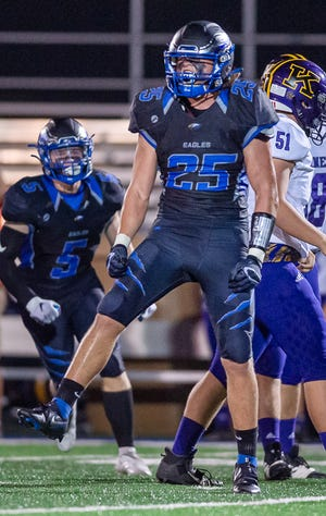 Grain Valley senior linebacker Hunter Newsom celebrates a sack against Kearney. Newsom amassed 173 tackles while being named first-team all-state and a Buck Buchanan Award semifinalist. He is The Examiner's 2020 Football Defensive Player of the Year.