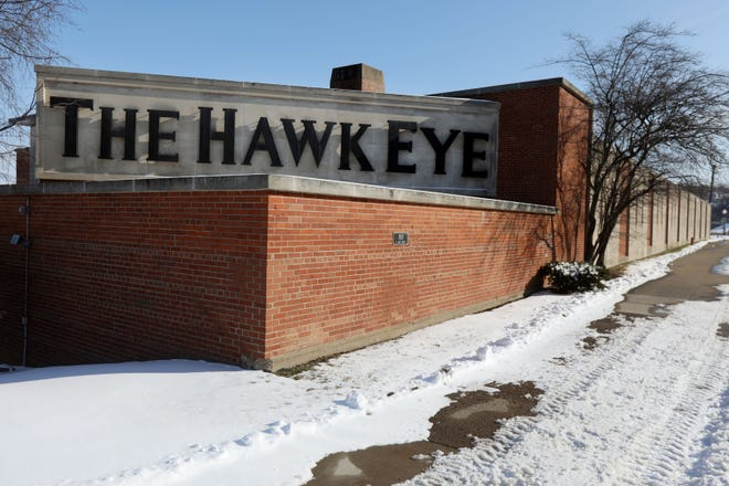 The Hawk Eye newspaper building is shown Friday at 800 S. Main St. in Burlington. Gannett Co. Inc., the owner of The Hawk Eye, plans to sell the newspaper's building.