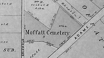 This 1896 Peoria County plat map shows Moffatt Cemetery at South Adams and South Griswold streets. The site, which is the resting place of Nance Legins-Costley, was later paved over.