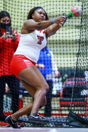 Texas Tech's Seasons Usual won the weight throw at last year's Big 12 indoor championships and, competing for the first time since on Friday, threw a personal record 67 feet, 5 1/2 inches.