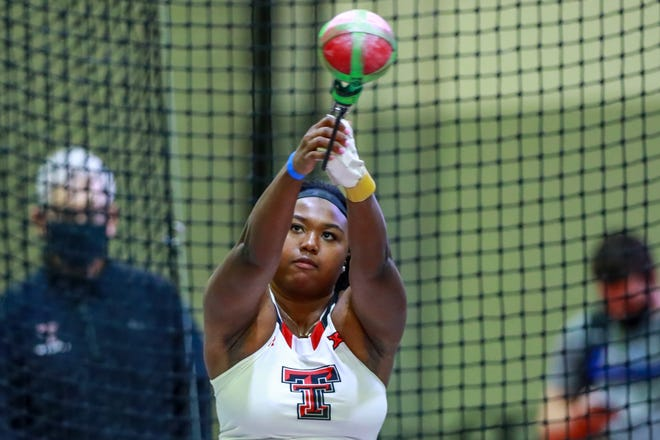 Texas Tech junior Seasons Usual competes in the weight throw on Friday's first day of the Texas Tech Invitational at the Sports Performance Center. Usual, competing for the first time this season, won with a personal record of 67 feet, 5 1/2 inches.