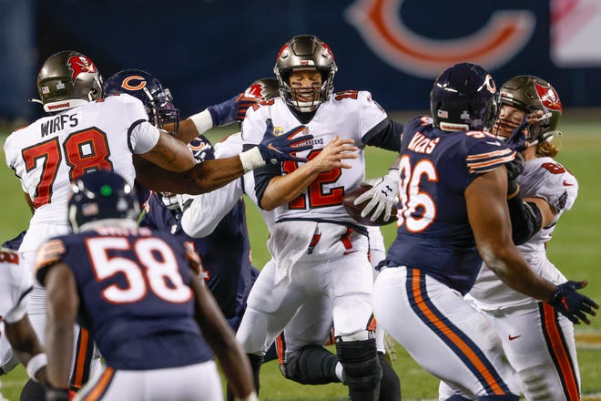 Tampa Bay Buccaneers quarterback Tom Brady (12) felt a lot of pressure during an Oct. 8 loss to the Chicago Bears in 2020.