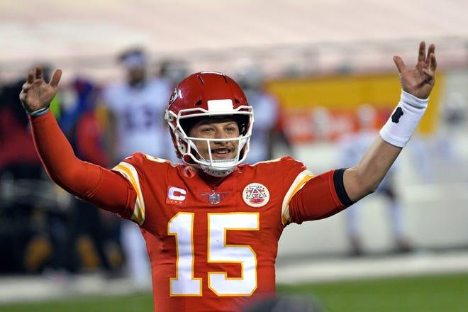 Kansas City Chiefs quarterback Patrick Mahomes celebrates at the end of the AFC championship NFL football game against the Buffalo Bills, Sunday, Jan. 24, 2021, in Kansas City, Mo. The Chiefs won 38-24.