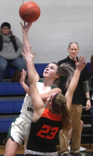 Westran sophomore Kenzie Black scored her team's first field goal Thursday with this transition layup at 5:58 in the second quarter to cut the Lady Hornets deficit to 20-8. Westran girls lost its consolation game of the Sturgeon Invitational to New Bloomfield by a 60-50 result.