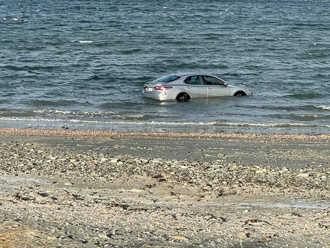 A car was pulled from the water at Third Beach in Middletown on Friday afternoon.